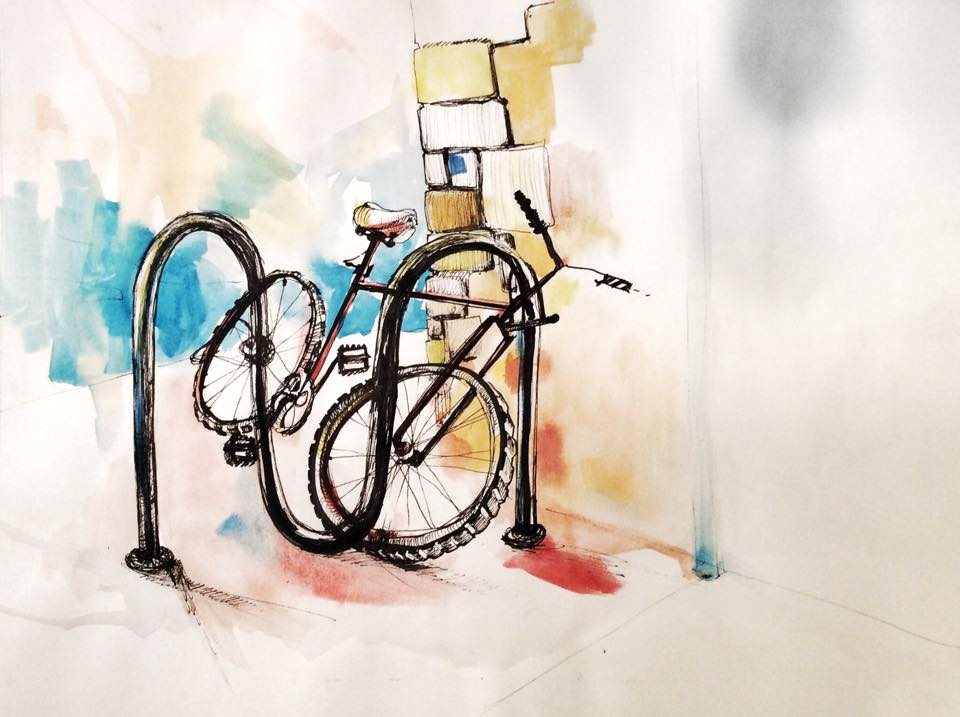 Bike. Ink and Watercolor 8x5in