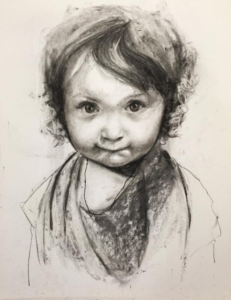Claudia. Charcoal 16x20in