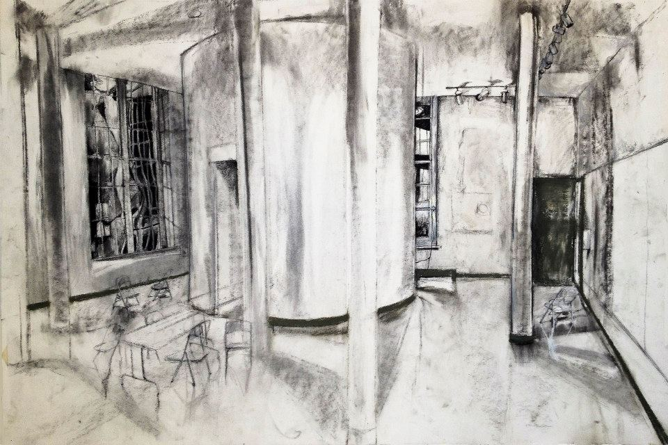 Windows in Love. Charcoal and Pastel 30x40in