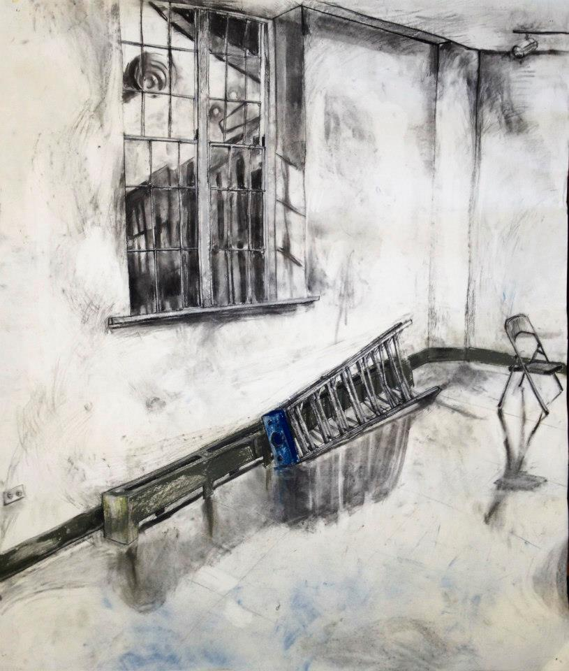 Ladder. Charcoal and Pastel 30x40in