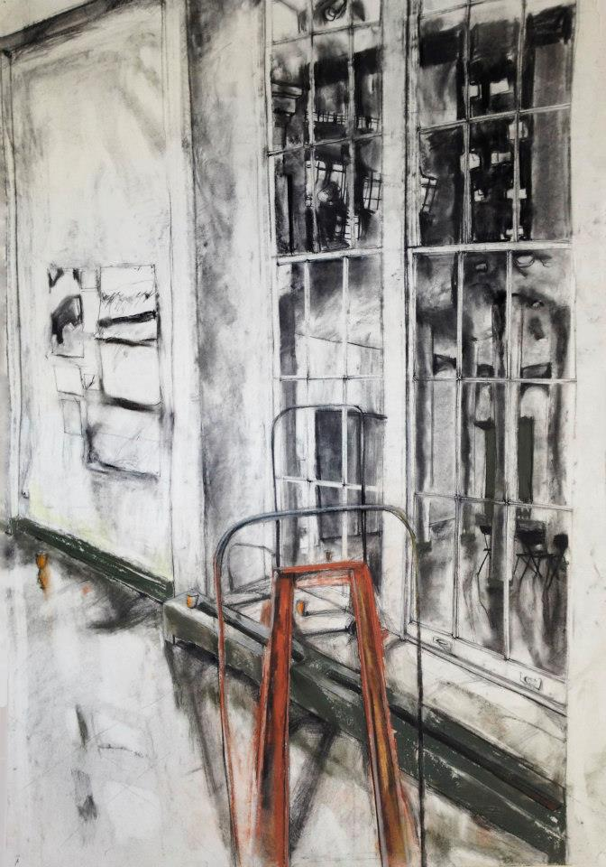 Mannerist Cart. Charcoal and Pastel 30x40in