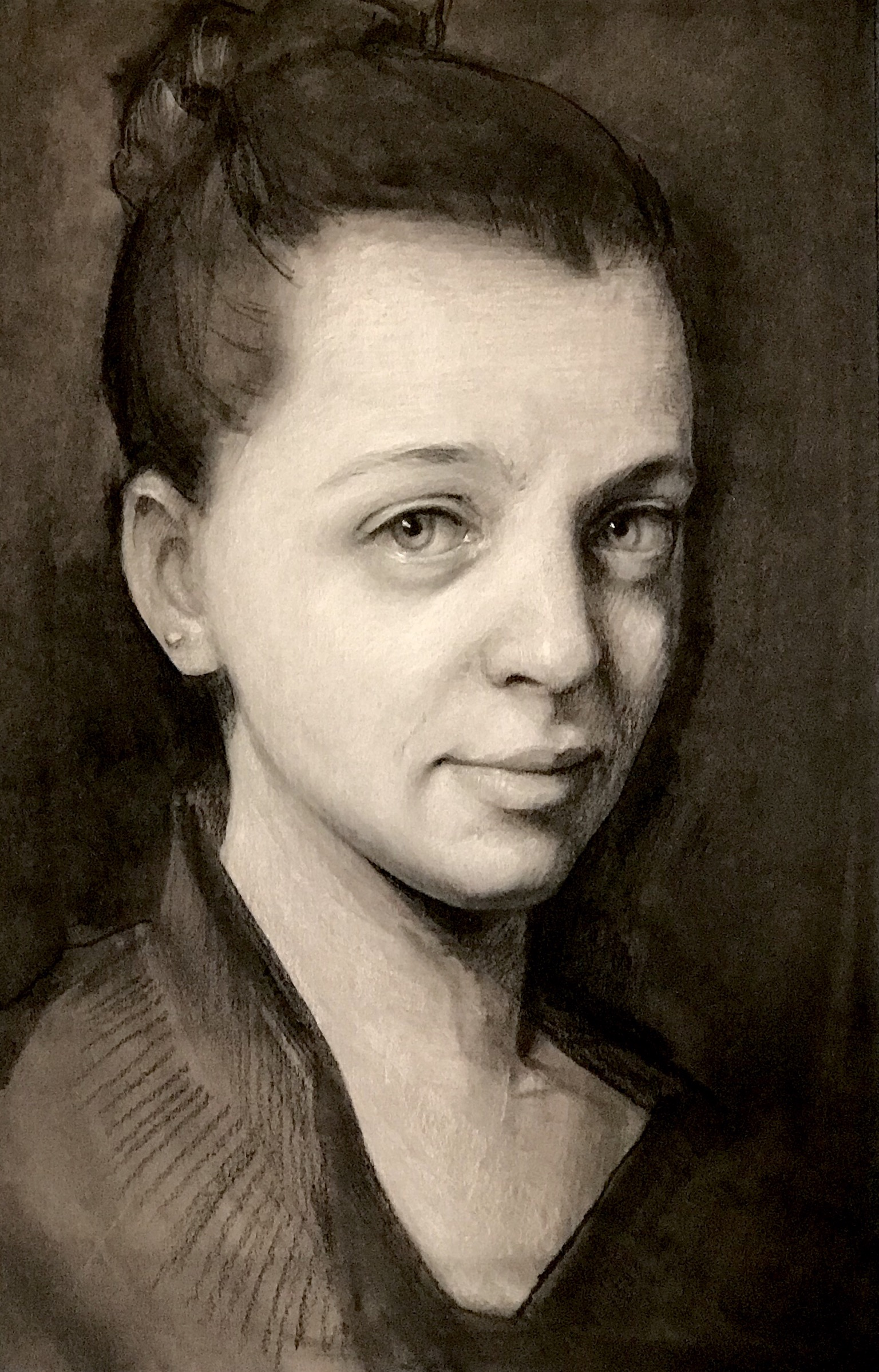 Study of Lindsey. Charcoal and Chalk. 12x7""