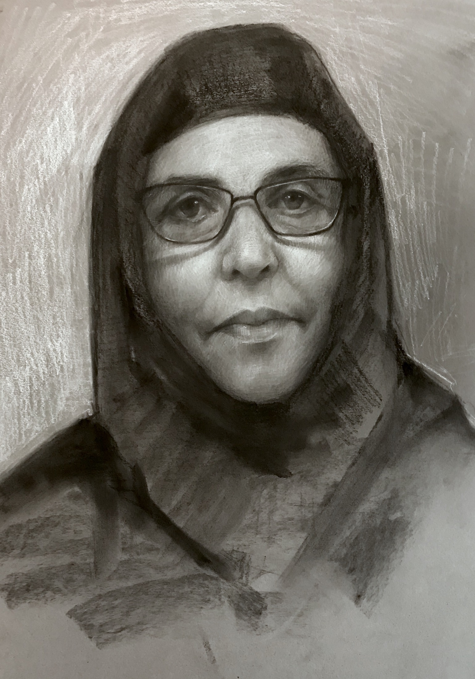 Study of  nun Barbara. Charcoal and chalk. 20x15""