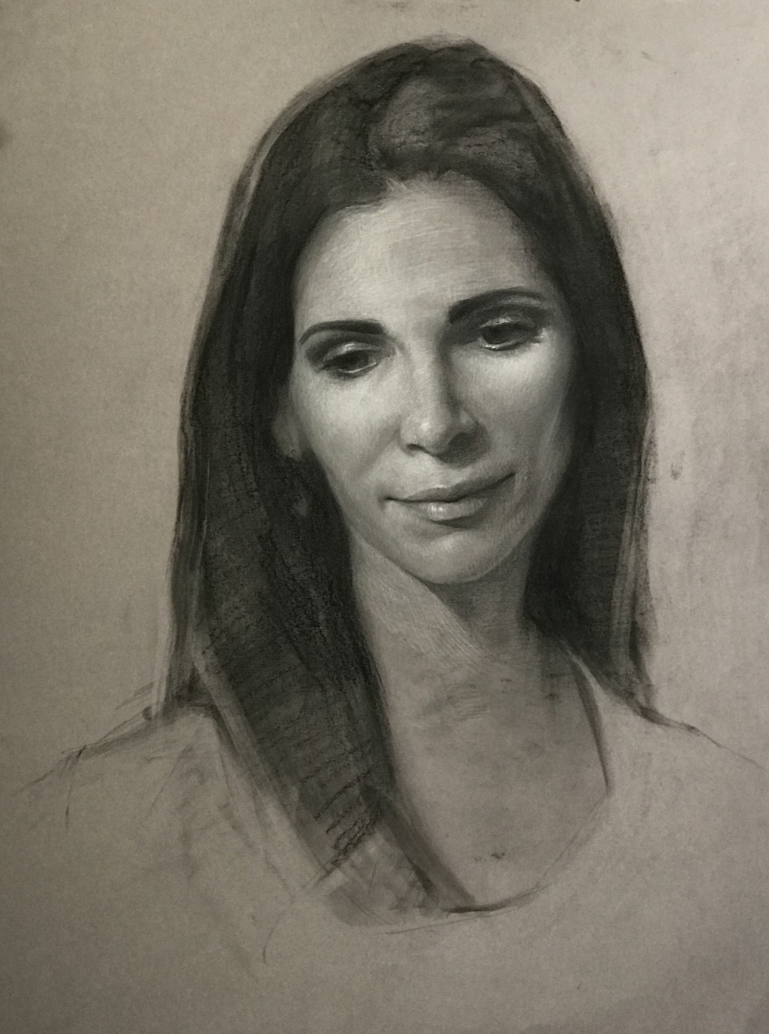 Another study of Laura. Charcoal and chalk. 20x15""
